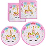 Unicorn Themed Party Supplies Set - Unicorn Plates and Napkins | Magical Unicorn Birthday Party Decorations for Girls and Baby Shower - Serves 16