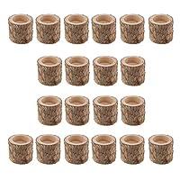 amleso 20本の素朴なキャンドルホルダー - 木製ティーライトツリーキャンドルホルダー - 素朴な結婚式、パーティー、誕生日、休日の装飾のための多肉植物プランター