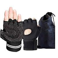 Yougou01 フィットネスグローブ、手のひら保護スポーツグローブ、丈夫なウェイトグローブ、リストストラップサポート、ベルクロ重量挙げグローブ、メンズフィットネスサイクリングに適しています ,快適で (Color : Black, Size : M)