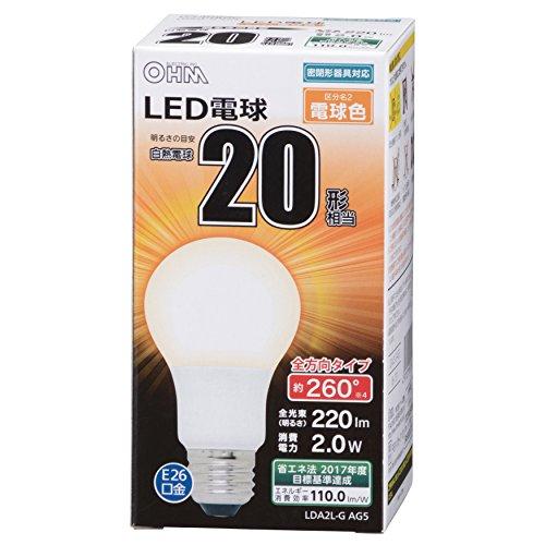 OHM LED電球 一般電球形 20形相当 口金直径26mm...