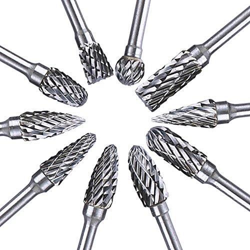 Kuman 10本セット 超硬バー タングステンバー 3mm軸 刃幅6mm ロータリーバー ダイヤモンド(ダブル)カット ドリル カッター 金属加工用 ポート加工用 金物 切削 研磨 樹脂切削用 KLC02