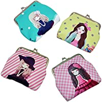 "Oyachic 4 Packs Coin Pouch Purse Clasp Closure Assorted Pattern Wallet Exquisite Gift 4.7""L X 3.5"" H"""