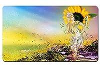 花を持つ少女に伴われ パターンカスタムの マウスパッド 植物・花 デスクマット 大 (60cmx35cm)