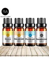 RAINBOW ABBY 最高 治療用 グレード エッセンシャル オイル 4パック バラエティ カモミール、ペパーミント、フランキンセンス、スウィートオレンジ