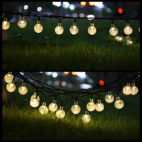 FEFELIGHTUP LED30球 6.35m (ウォームホワイト) ソーラー充電式ガーデンライト LED庭園灯 外灯 屋外用 自動ON/OFF
