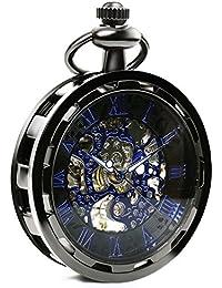 【クロノシア】懐中時計 手巻き アンティーク 機械式 スケルトン メンズ チェーン付き (メタリックブルー)