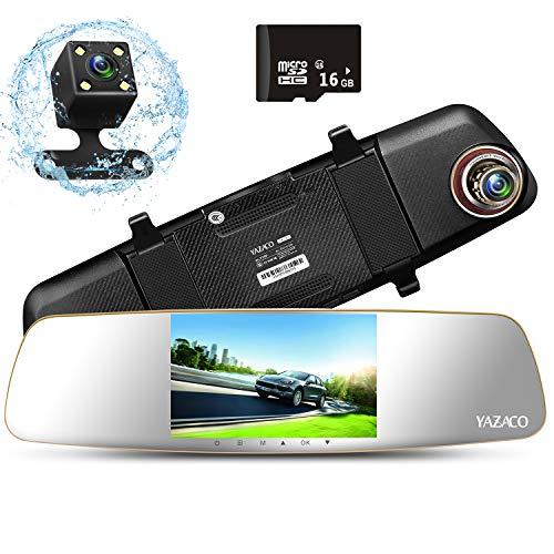 YAZACO ドライブレコーダー バックミラー型 ドラレコ ミラーモニター デュアルレンズ 2カメラ 5.0インチIPSパネル 1080P 170度広角 バックカメラ連動機能 駐車監視 24ヵ月保証期間