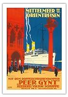 地中海とオリエント - 海運会社ビクターSchuppe - ツインスクリュースチーマーペール・ギュント上の地中海とオリエントクルーズ - ビンテージな遠洋定期船のポスター によって作成された ルドルフ・リュファー c.1925 - 美しいポスターアート