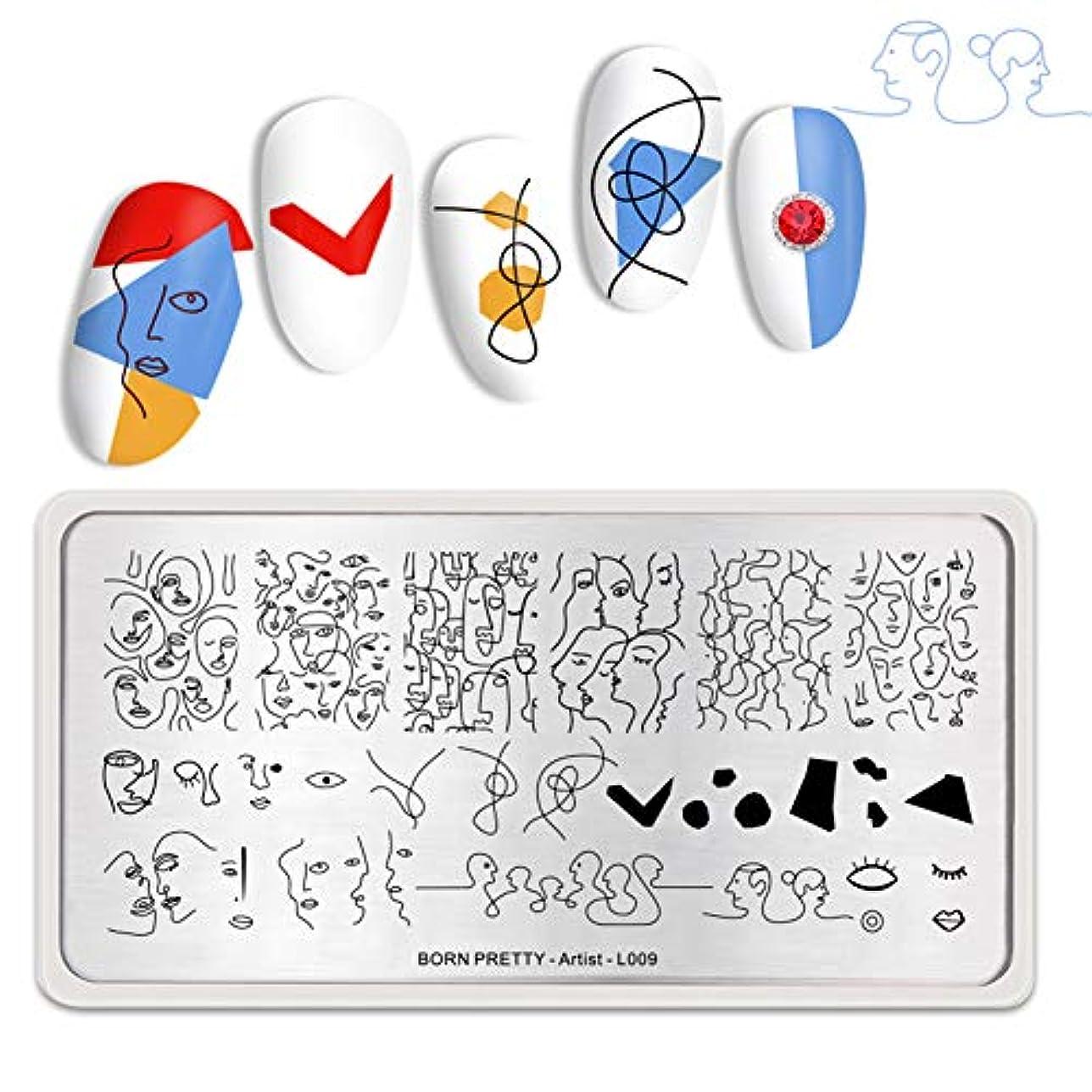 接ぎ木メイト精算BORN PRETTY ネイルプレート 1枚 アーティストシリーズ スタンプネイル スタンププレート 長方形ネイルアートスタンピングプレートツール Artist -L009 12*6cm [並行輸入品]