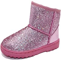 Elcssuy Girls Boots Warm Sequin Comfy Cute Waterpoof Outdoor Glitter Snow Boots Bootie Slippers(Toddler/Little Kid)