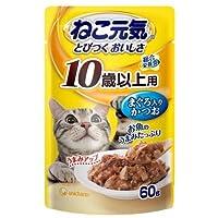 ボール売り ねこ元気 総合栄養食 パウチ10歳以上用まぐろ入りかつお 60g キャットフード 超高齢猫用 12袋入