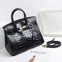 女性ハンドバッグ、ファッションワニ柄牛革レザーショルダーバッグ、大容量女性クロスボディバッグ,Black,35