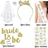 DmHirmg 花嫁のためのキットアクセサリーになるためのアクセサリブライダルシャワー編パーティー - 花嫁のティアラ王冠、櫛のついた白いダブルリボンエッジブライダルウェディングベール、17個のフラッシュタトゥー、サテンサッシとバナー