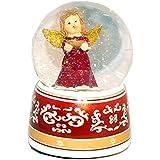 20032 【Minium Collection】 Snowdome ミュージカルスノーグローブ。赤。ボウルと天使 。【直径】10cm