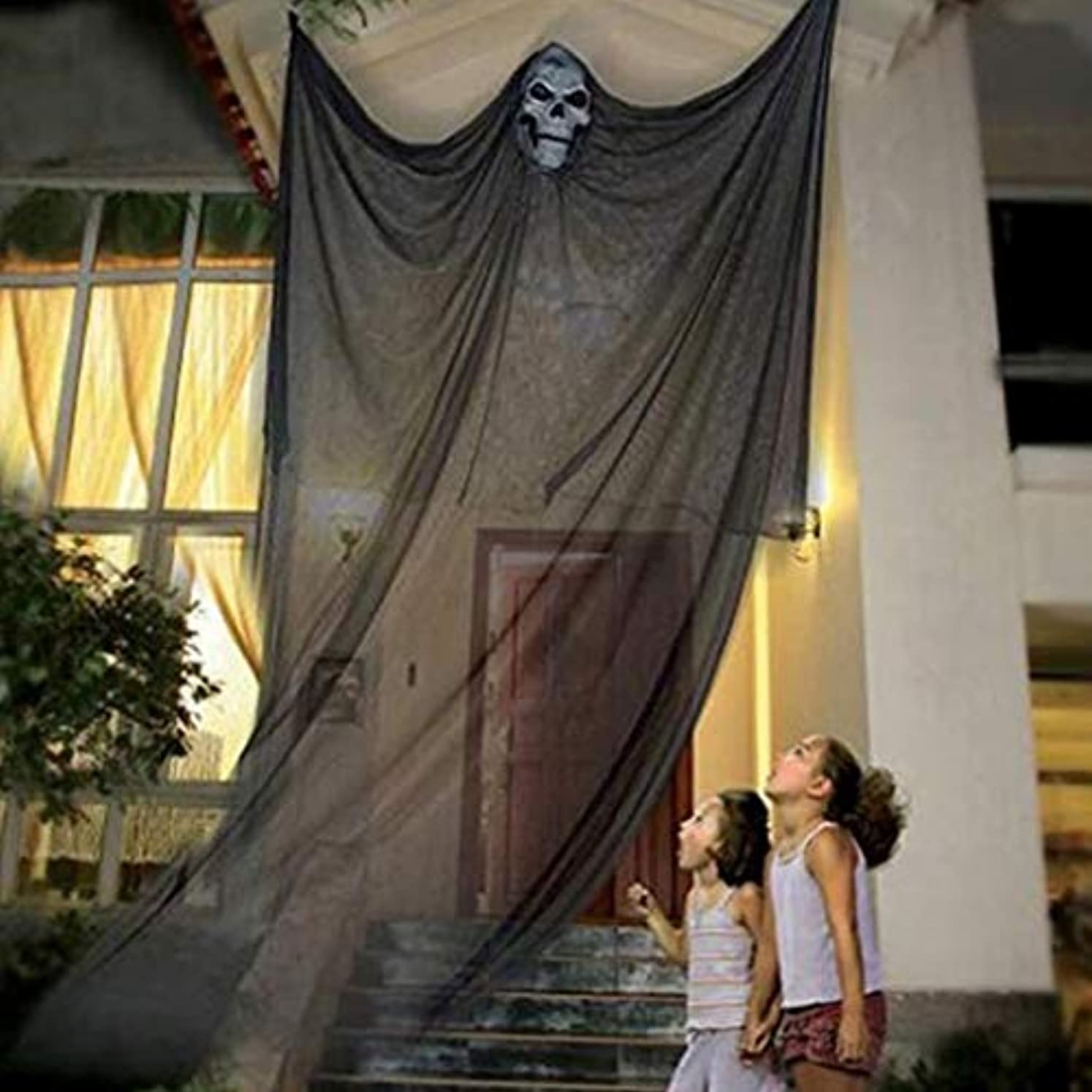 ミケランジェロようこそポルトガル語屋外党家のためのハロウィーンの装飾の掛かる幻影の怖いカーテン (Color : BLACK)