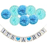 Coobey IT'S A Boy Garland Bunting Banner with 8 Pieces Tissue Paper Flower Pom Poms Party Photo Props for Baby Shower Decorations [並行輸入品]