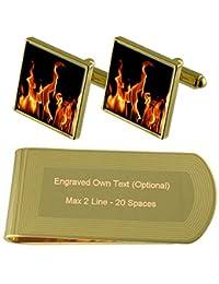 火金の炎のトーン カフスボタン お金クリップを刻まれたギフトセット