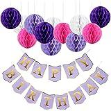 紫 誕生日 飾り付け パープル ピンク ホワイト ハニカムボール happy birthday バナー ガーランド 可愛い 女の子 13枚セット