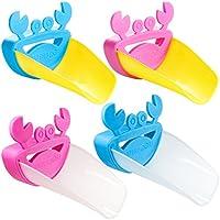 IHUIXINHE蛇口補助 子供用 手洗いサポート ウォーターガイド かわいいカニ 便利グッズ 4色セット