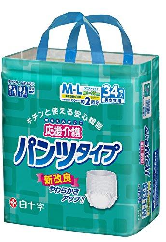 応援介護 パンツ タイプ M-Lサイズ 男女共用 34枚入【ADL区分:立てる・座れる方】