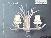 51BuyWorld ルームベッドルームレストランリビング樹脂アントラーズ主導シャンデリアランプシェードシャンデリアシャンデリア,白色(ランプシェード付き),3 頭 / 70*55 CM