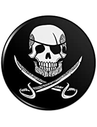 海賊の頭蓋骨交差刀の入れ墨のデザインピンバックボタンピンバッジ - 3