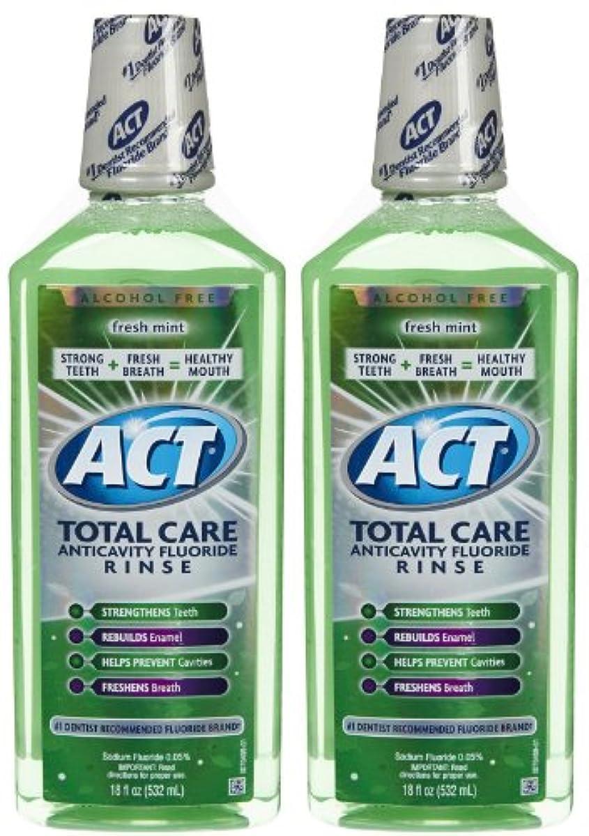 道に対応する刺激するACT Total Care Anticavity Fluoride Mouthwash-Fresh Mint-18 oz, 2 pk by ACT