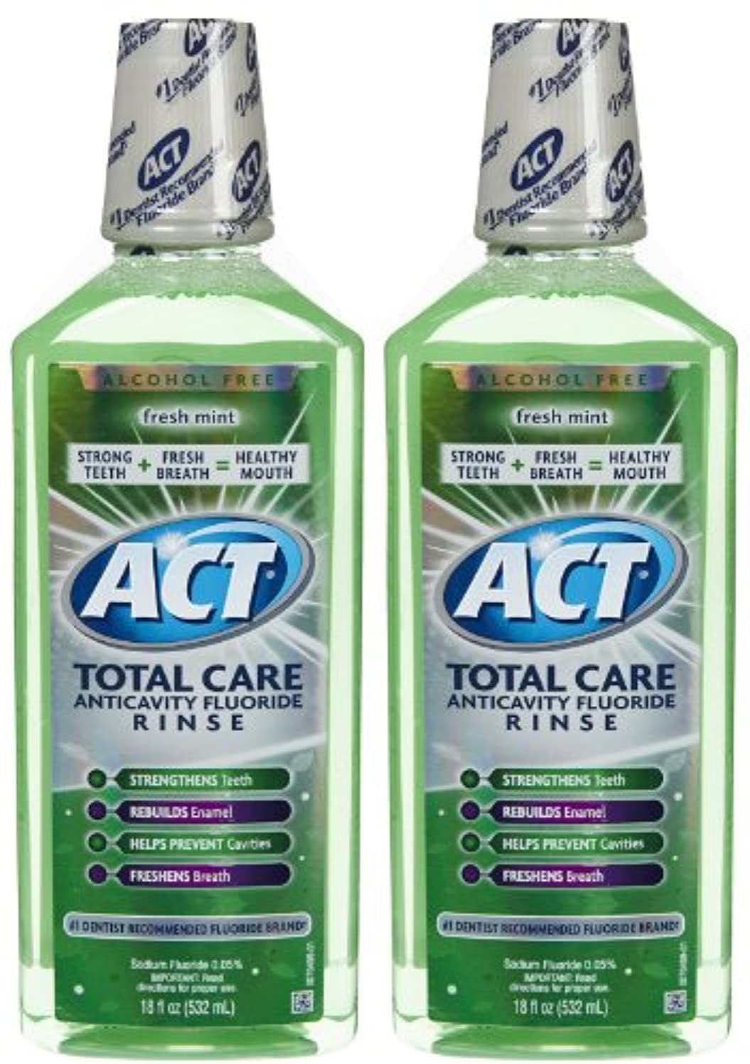 土曜日動機付けるいくつかのACT Total Care Anticavity Fluoride Mouthwash-Fresh Mint-18 oz, 2 pk by ACT
