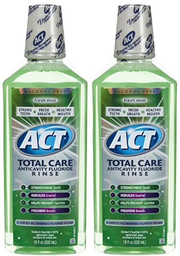 流産脊椎伸ばすACT Total Care Anticavity Fluoride Mouthwash-Fresh Mint-18 oz, 2 pk by ACT