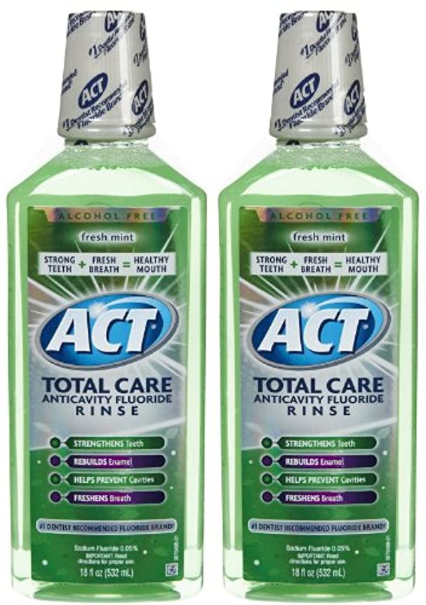 罰修正火山学者ACT Total Care Anticavity Fluoride Mouthwash-Fresh Mint-18 oz, 2 pk by ACT