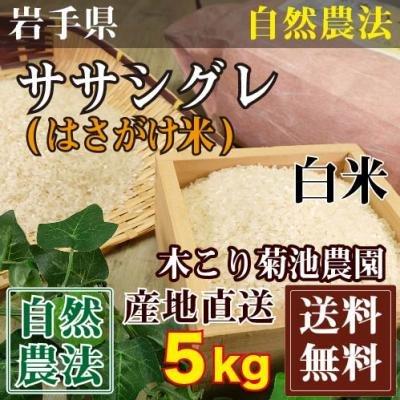 ササシグレ はさがけ米 白米 5kg 自然農法 (岩手県 木こり菊池農園) 産地直送