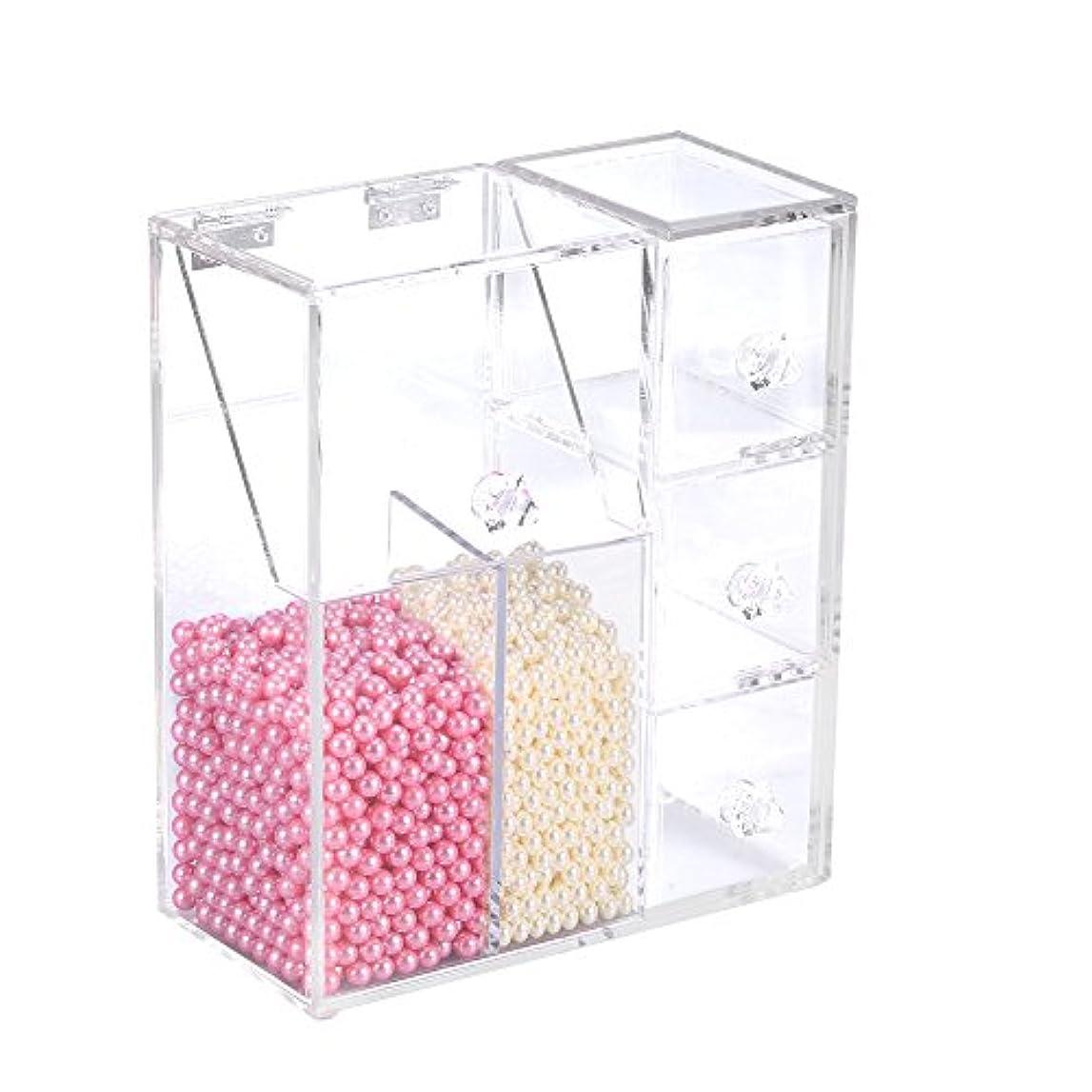 励起気体の月透明な化粧品収納オーガナイザー、化粧品オーガナイザー化粧ブラシ収納容器ケース、2つのブラシホルダー付き