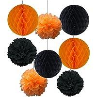 SUNBEAUTYハロウィンシリーズハロウィン装飾4pcsパープルパープルとブラックハニカムボールミックス4個とブラックペーパーフラワーポンポンTissueハロウィンアクセサリーパーティーデコレーション HW-11