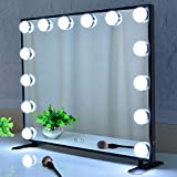 Hollywood Lighted Vanity Mirror,Makeup Mirror with Lights,Tabltop or Wall Mount Cosmetic Beauty Mirror with Dimmer Bulbs,Touch Control (Black)