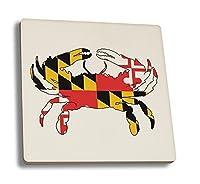 (4 Coaster Set) - Maryland - Crab Flag (white background) (Set of 4 Ceramic Coasters - Cork-backed, Absorbent)
