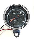 LED 機械式 ミニ スピード メーター 180km 電気式 タコ メーター バック ライト バイク 用 カスタム パーツ 汎用 (スピードメーター)