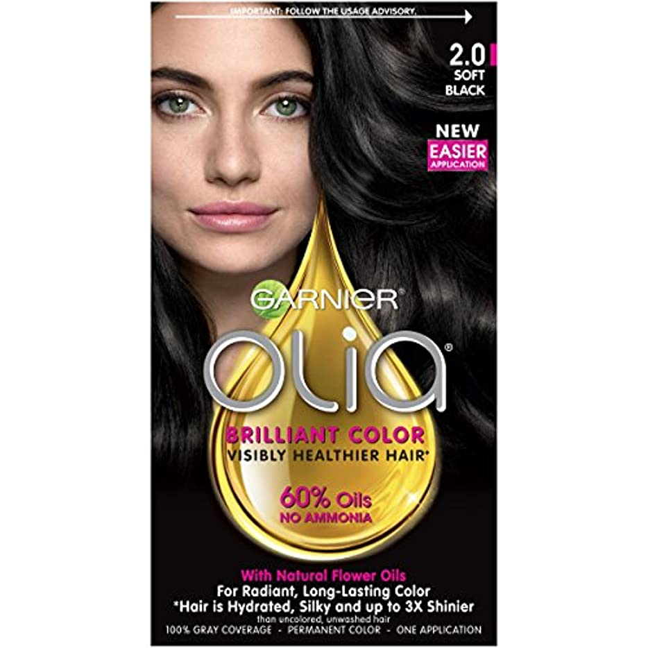 Garnier Oliaヘアカラー、2.0ソフトブラック、アンモニア無料黒髪色素(梱包が変更になる場合があります) 1つのカウント 2.0ソフトブラック