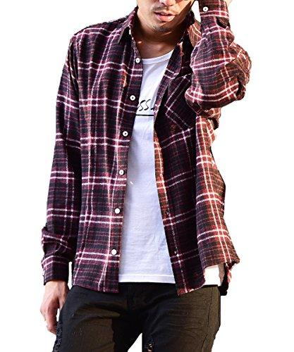 マイノリティセレクト(MinoriTY SELECT) ネルシャツ メンズ チェック ネル シャツ 長袖 赤 黒 L H柄(19)