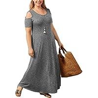 Gloria&Sarah Women's Plus Size Casual Dress Cold Shoulder Short Sleeve Beach Long Maxi Dress with Pocket