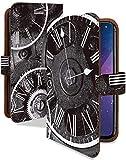 iPhone XS ケース 手帳型 クロック ブラック スチームパンク スマホケース アイフォンテンエス アイフォン10S アイフォーン アイホン テンエス エックス 手帳 カバー IPHONEXS xsケース xsカバー 時計 ぜんまい 時計柄 [クロック ブラック/t0711d]