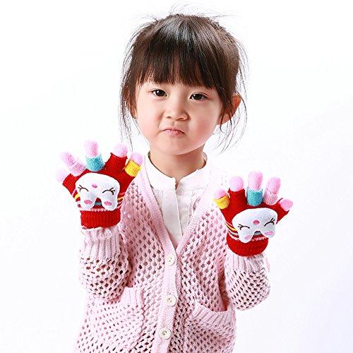 YUUWA 手袋 子供用 ニット グローブ キッズ 暖かい 2枚重ね 秋冬 保温 防寒 通学 通園 おしゃれ 4-7歳に適用 5本指 かわいい 小学生 男の子 女の子 指切り