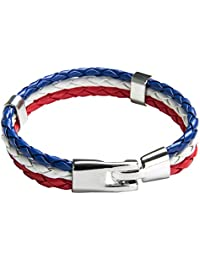 TRIXES Braided French Tricolour Theme Unisex Wristband Bracelet Red White Blue 3 Weave for Bastille Day and National Celebrations