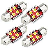 AUXITO T10 x 31 LED ルームランプ 4個入り LED T10 x 31mm 12V 対応 ホワイト キャンセラー内蔵 無極性 2W 3030LED素子 30000時間寿命 白 1年保証