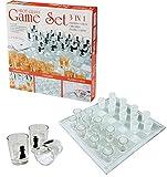 ショットガラス チェスゲームセット/飲酒バーチェッカーゲームセット/ 飲酒向けチェス / 3?in 1?飲酒用チェス、チェッカー、カードプレイング