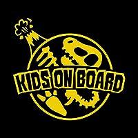 ティラノサウルス 化石 KIDS ON BOARD ステッカー イエロー 黄