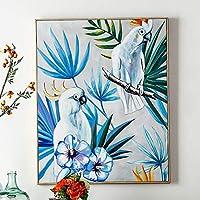 SILYHN 塗装抽象オウムアート油絵キャンバス壁アートフレームレス画像装飾用ライブルーム家の装飾ギフト(60×80センチ)24×32インチA