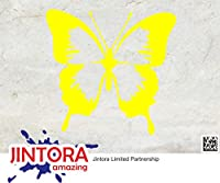 JINTORA ステッカー/カーステッカー - Beautiful butterfly - 美しい蝶 - 93x90mm - JDM/Die cut - 車/ウィンドウ/ラップトップ/ウィンドウ- 黄色