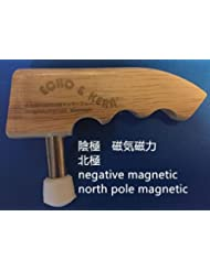 Magnetic T shape acupuncture tool, north pole、negative (magnetotherapy)Echo & Kern 木のハンドル排酸棒,陰極磁気棒,陰極磁力排酸棒北極磁気...