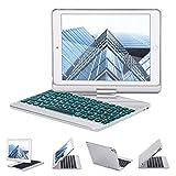iPad キーボード GreenLaw 360度回転式 ipad キーボードカバー/キーボードケース 7カラーLEDバックライト 反転可能 オートストップ iPad Air,iPad Air 2,iPad Pro 9.7,2017/2018 New iPad 9.7に対応 (シルバー)