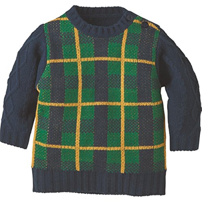 コンビミニ チェックセーター(袖ケーブル) 90 ネイビー